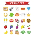 Casino icons flat style Gambling set isolated on vector image