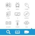 Retro TV radio and DVD disc icons vector image