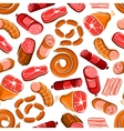 Seamless meat and sausages pattern vector image vector image