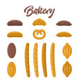 bakery food set different kinds of bread vector image