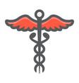 caduceus filled outline icon medicine healthcare vector image