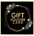 gift voucher card golden flower crown black backgr vector image