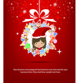 girl santa christmas tree icon for christmas card vector image