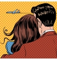 Loving couple looking at a plane taking off in the vector image