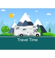 Caravan van driving on the road vector image