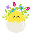 cute cartoon chicken in easter egg with fowers vector image
