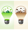 Eco and polluted cityscape in bulb vector image
