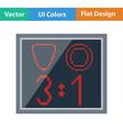 Flat design icon of football scoreboard vector image