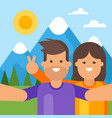 happy tourist couple taking selfie vector image