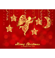 Holiday red background with golden figures of vector image