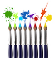 Paint brushes and color splash vector image