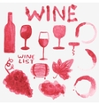 Set of watercolor wine stuff on the white vector image