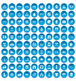 100 rafting icons set blue vector image