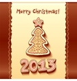 Christmas tree chocolate honey-cakes background vector image