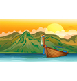 A boat floating vector image vector image