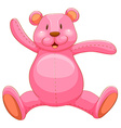 Pink teddy bear with happy face vector image vector image