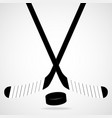 hockey stick and puck isolated on a white vector image
