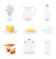 Milk realistic icons set vector image