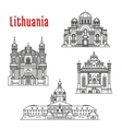 Historic landmarks and sightseeings of Lithuania vector image