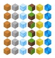 Cartoon Isometric game brick cubes set vector image