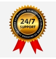 247 SUPPORT gold sign label template vector image vector image