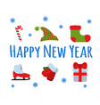 Happy new year set sign and logo vector image