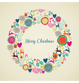 Merry Vintage christmas elements wreath vector image