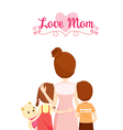Mother Son And Daughter Hugging Together vector image