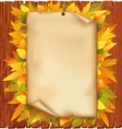 Autumn background with old paper and yellow leaves vector image vector image