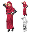 Muslim Girl Fashion Wearing Red Veil or Scarf vector image
