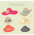 Womens fashion collection of hats vector image