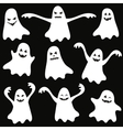 Set of halloween funny ghosts vector image