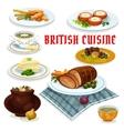 British cuisine dinner menu cartoon icon vector image