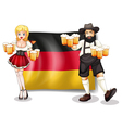 The flag of Germany with a man and a woman vector image vector image