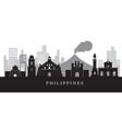 philippines landmarks skyline in black and white vector image