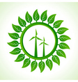 Eco wind mill inside the leaf background vector image