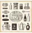 Vintage kitchen set vector image vector image
