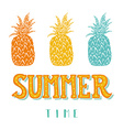 Hand drawn vintage label with pineapples and hand vector image