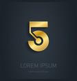 Number Five Gold logo Award 3d icon Metallic vector image