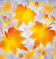 Autumn grunge background with yellow leaves - vector image