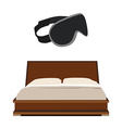 Bed and sleeping mask vector image