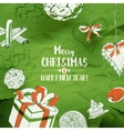 Christmas Card With Sketches on green vector image