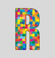 Color Puzzle Piece Jigsaw Letter - R vector image