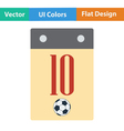 Flat design icon of football calendar vector image