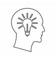 Light bulb inside a head icon outline style vector image