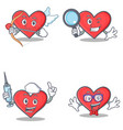 set of heart character with cupid detective nurse vector image