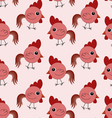 Seamless pattern with red roosters vector image