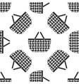 shopping basket icon seamless pattern on white vector image