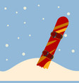 snowboard standing in snow vector image vector image