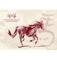 Chinese new year of the Horse brush style shape vector image